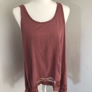 Free People Intimately Lace Trimmed Mauve Tank Top